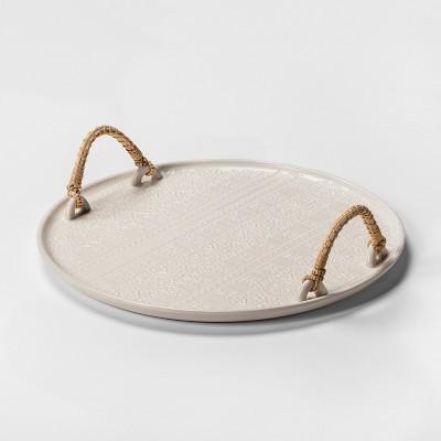 14  Stoneware Print Tray With Handles White - Threshold™