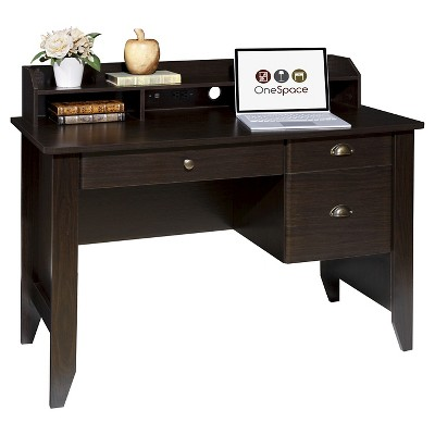 OneSpace 50-1617 Executive Desk with Hutch and USB, Charger Hub