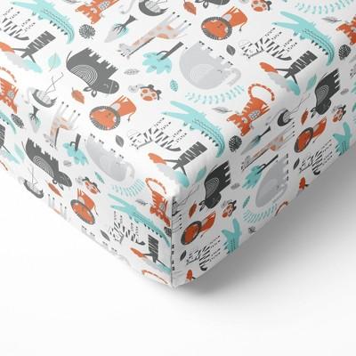 Bacati - Safari Animals Allover Print Aqua Orange Gray 100 percent Cotton Universal Baby US Standard Crib or Toddler Bed Fitted Sheet
