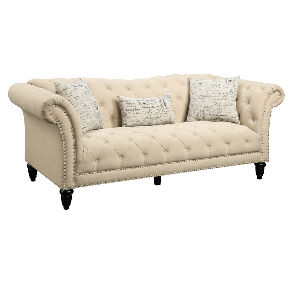 Twine Sofa with French Script Pillows Medium Beige - Picket House Furnishings