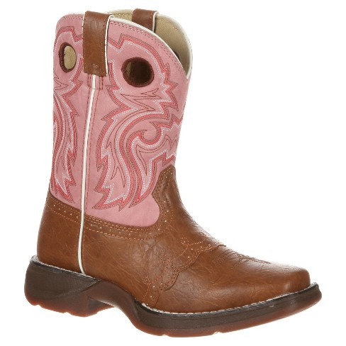Durango® Girls' Saddle Lil' Durango Cowboy Boots - Tan & Pink - image 1 of 7