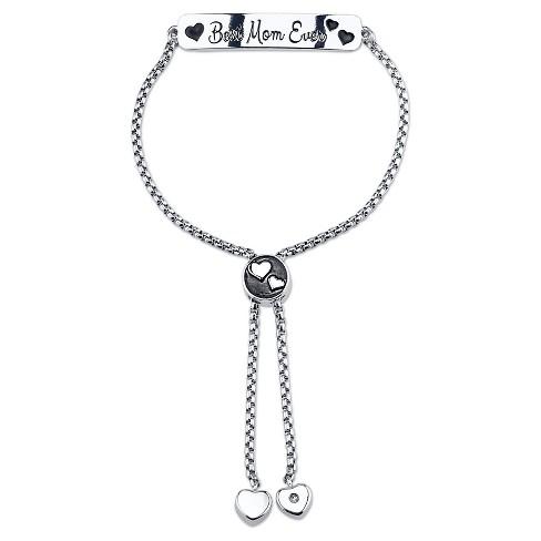 """Women's Stainless steel Best Mom ever slide bracelet - silver (8"""") - image 1 of 1"""