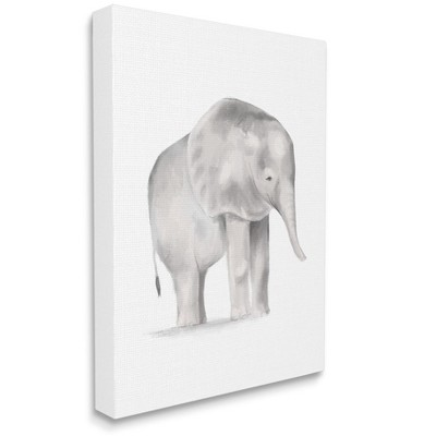 Stupell Industries Standing Baby Elephant Soft Grey Illustration
