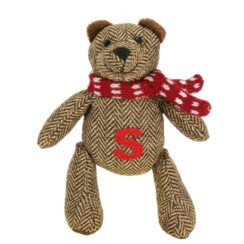 "Northlight 6.25"" Brown Herringbone Plush Teddy Bear ""S"" Embroidered Christmas Figure Decoration - image 1 of 1"