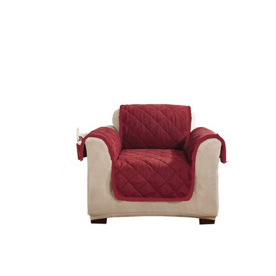 Sherpa/Suede Reversible Chair Cover Burgundy - Sure Fit