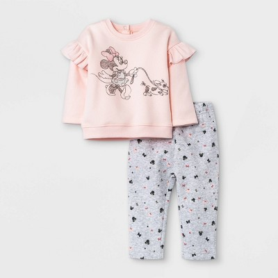 Baby Girls' 2pc Minnie Mouse Long Sleeve Fleece Pullover and Jogger Set - Light Pink
