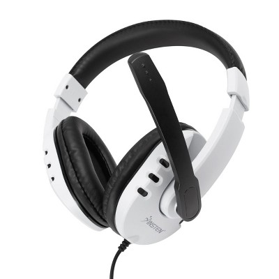 Insten - 3.5mm Gaming Headset with Microphone, Compatible with PS5, PS4, Xbox One, Over Ear Wired Headphone, Noise Cancelling, Soft Earmuffs, White