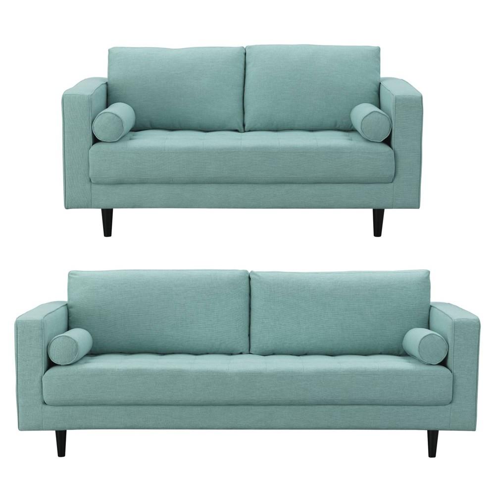 2pc Arthur Tweed 3 Seat Sofa and 2 Seat Loveseat Mint Green - Manhattan Comfort