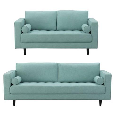 2pc Arthur Tweed 3 Seat Sofa And 2 Seat Loveseat - Manhattan Comfort ...