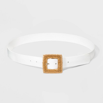 Women's Wide Woven Square Buckle Belt - A New Day™ White S