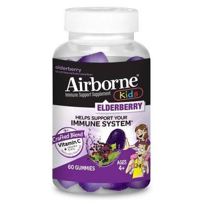 Airborne Kids Elderberry Gummies with Vitamin C & Zinc - 60ct