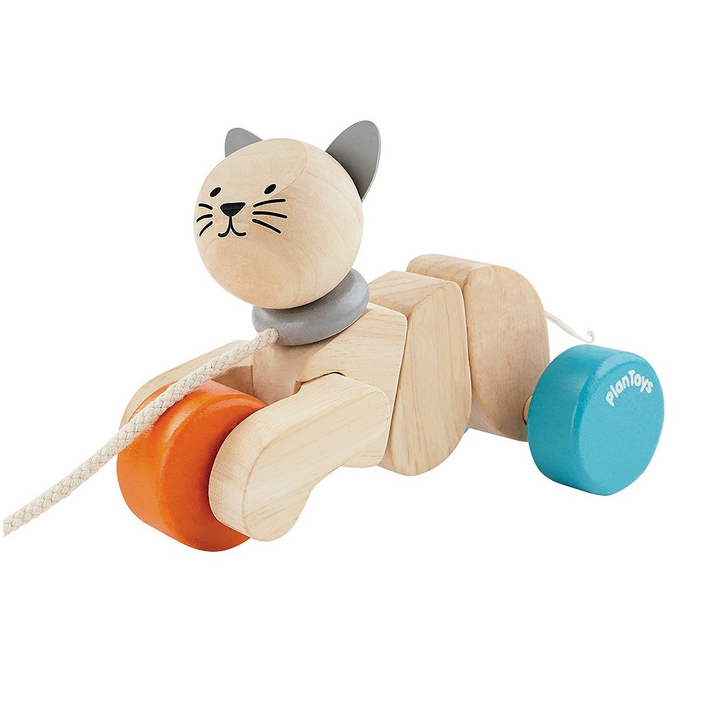 PlanToys Pull-Along Cat, Push and Pull Toys