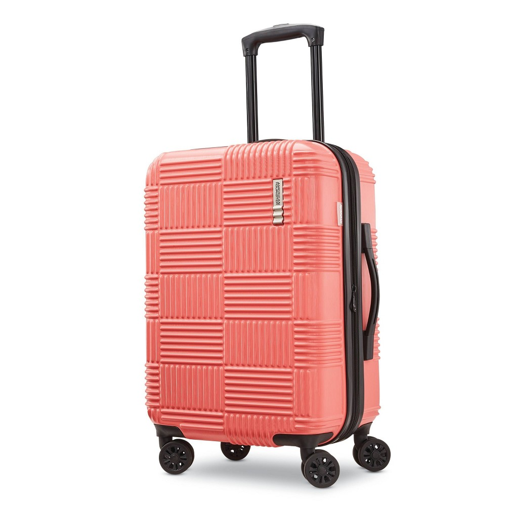 "Image of ""American Tourister 22"""" Checkered Carry On Hardside Spinner Suitcase - Coral, Pink"""
