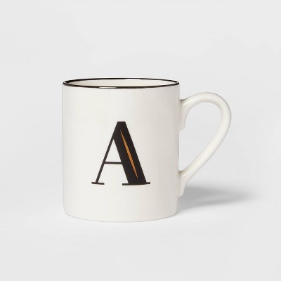 16oz Stoneware Monogram A Mug White - Threshold™