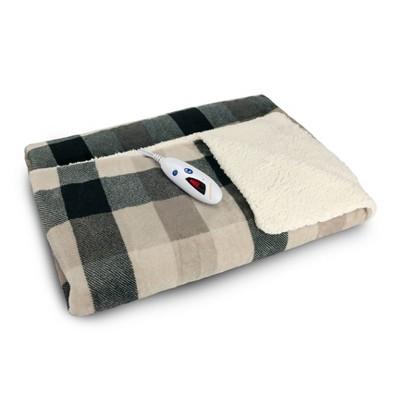 Velour and Sherpa Electric Throw Blanket Black Plaid - Biddeford Blankets