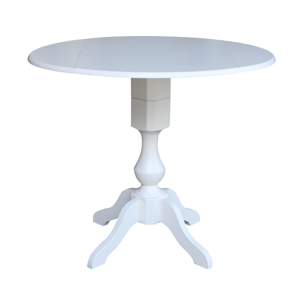 42 Matt Round Dual Drop Leaf Pedestal Table White - International Concepts was $469.99 now $352.49 (25.0% off)