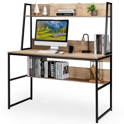 Costway 47'' Computer Desk w/ 3 Storage Cubes & Open Bookcase Home Office