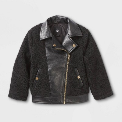 Toddler Girls' Sherpa & Faux Leather Moto Jacket - art class™ Black