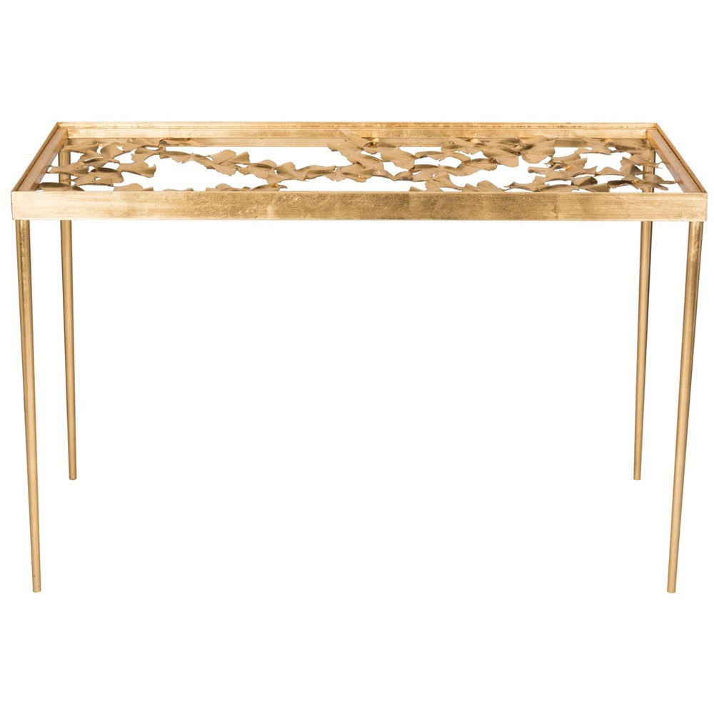 Otto Ginkgo Leaf Desk Gold - Safavieh