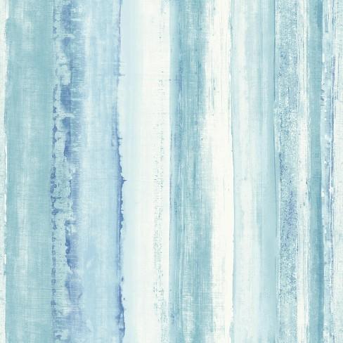 Roommates Watercolor Stripe Peel Stick Wallpaper Blue Target