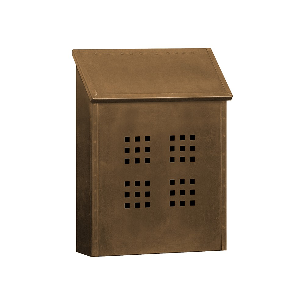 Decorative Standard Vertical Mailbox - Antique Brass, Black