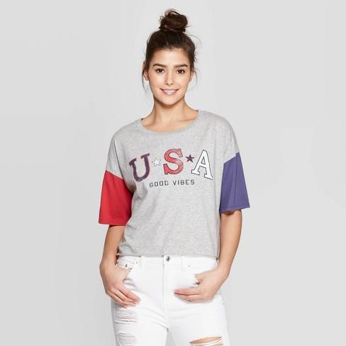 Women's Short Sleeve USA Good Vibes Graphic T-Shirt - Grayson Thread (Juniors') - Heather Gray - image 1 of 9