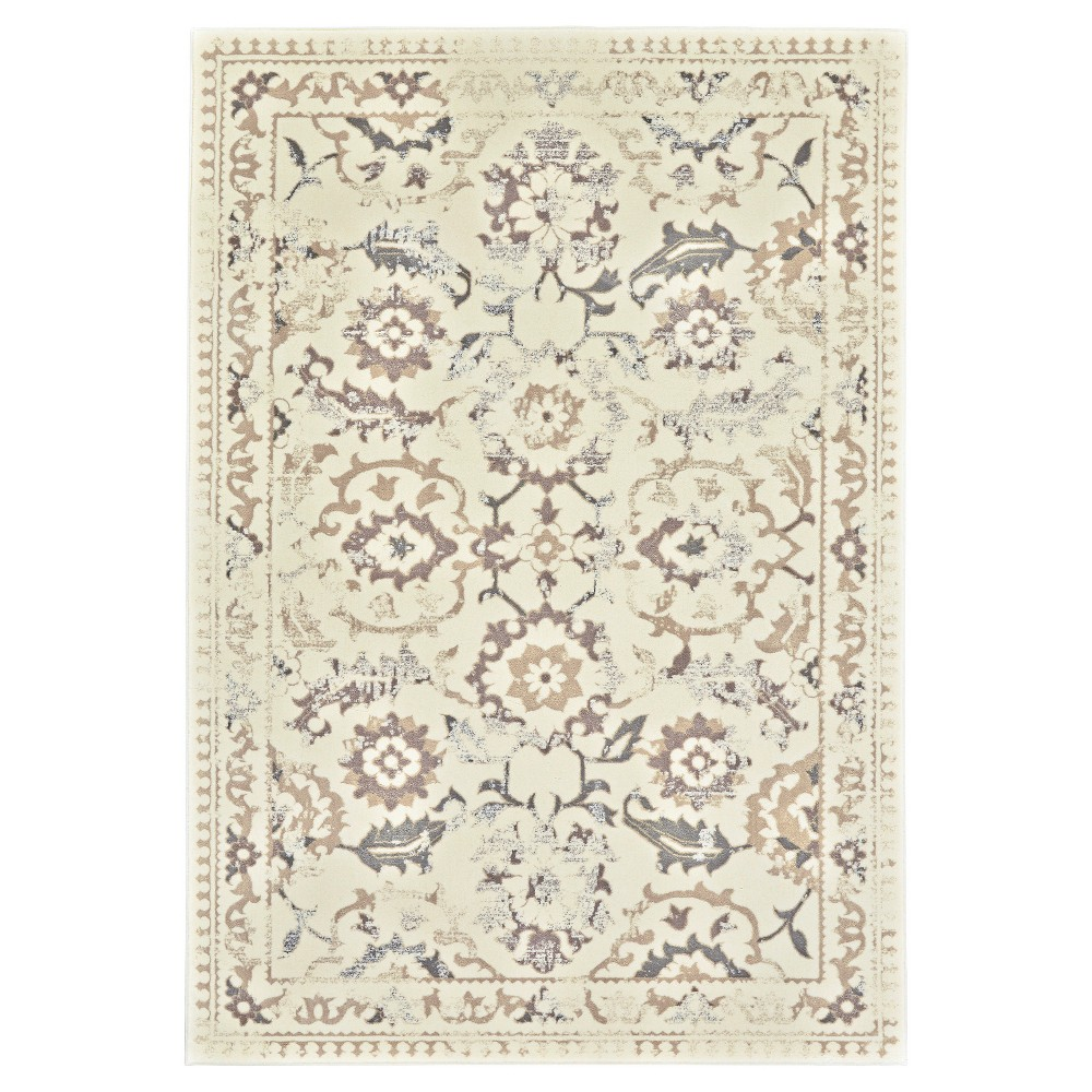 2'2X4' Jacquard Woven Accent Rugs Cream/Gray (Ivory/Gray) - Room Envy