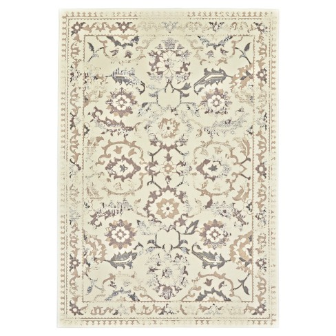 """2'2""""X4' Jacquard Woven Accent Rugs Cream/Gray - Room Envy - image 1 of 3"""