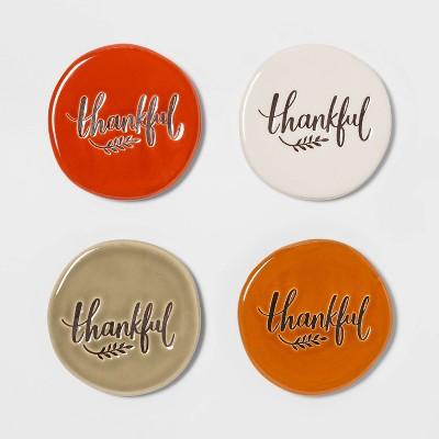 4pk Stoneware Thankful Coasters - Threshold™