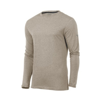 Mizuno Mens Loose Fit Long Sleeve Crew Athletic T-shirt - Blue Medium