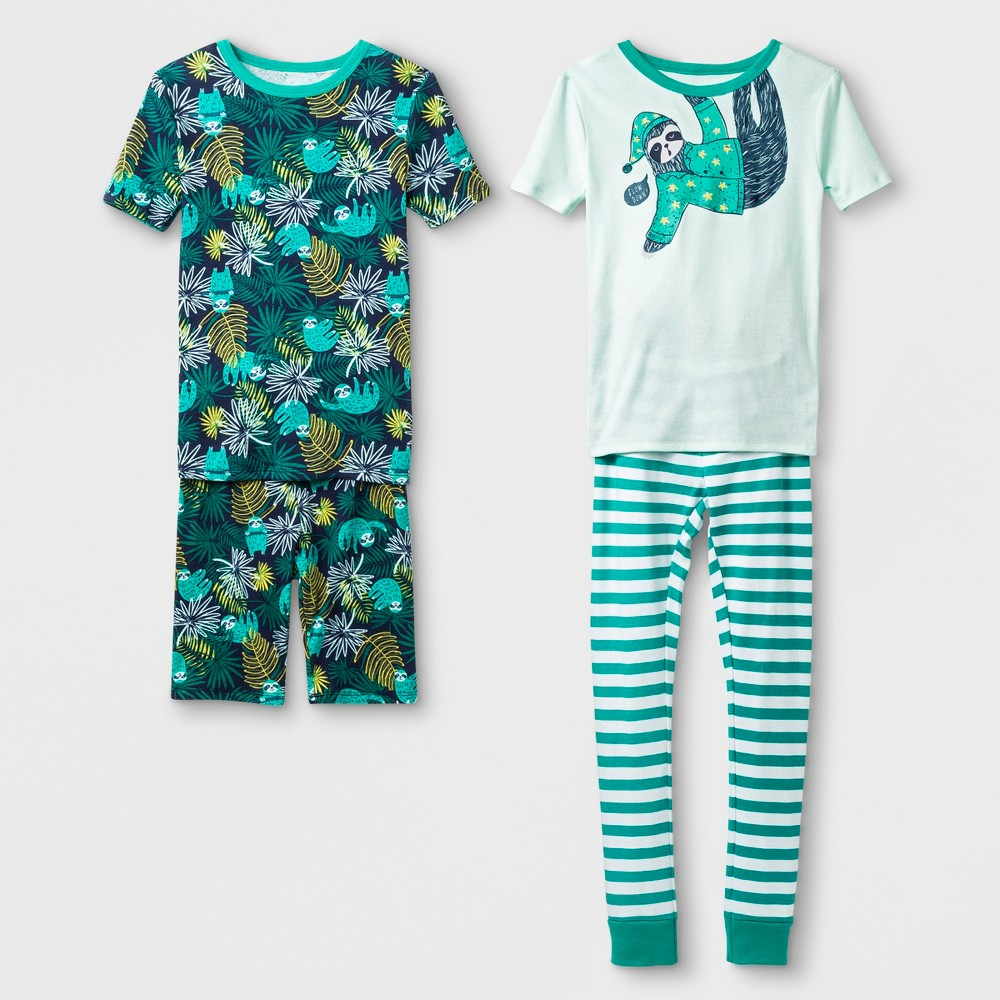 Boys' Slow Down Sloth Tight 2pk Fit Pajama Set - Cat & Jack Green 6