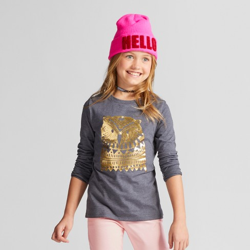 Girls' Long Sleeve Owl Graphic T-Shirt- Cat & Jack™ Gray - image 1 of 4