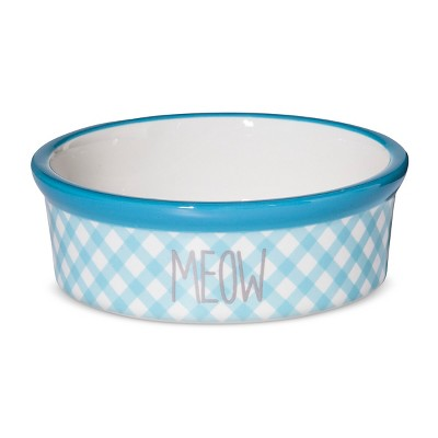Territory Modern Cat Printed Ceramic Bowl -Blue Print - Meow