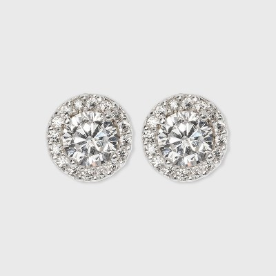 Women's Sterling Silver Cubic Zirconia Round Halo Button Earring - A New Day™ Silver/Clear