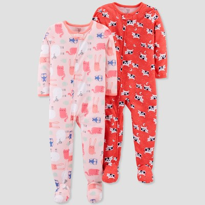 Baby Girls' 2pk Cows & Bunnies Footed Pajama Set - Just One You® made by carter's Orange 12M