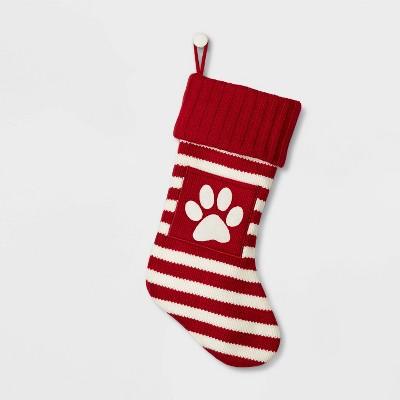 Knit Monogram Christmas Stocking Stripe Red & White Paw Print - Wondershop™