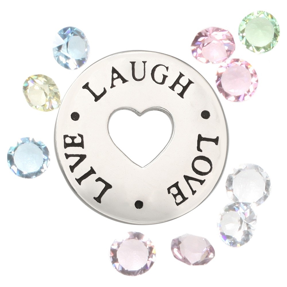Treasure Lockets Silver Plated Live, Laugh, Love' Charms with Crystals, Gray