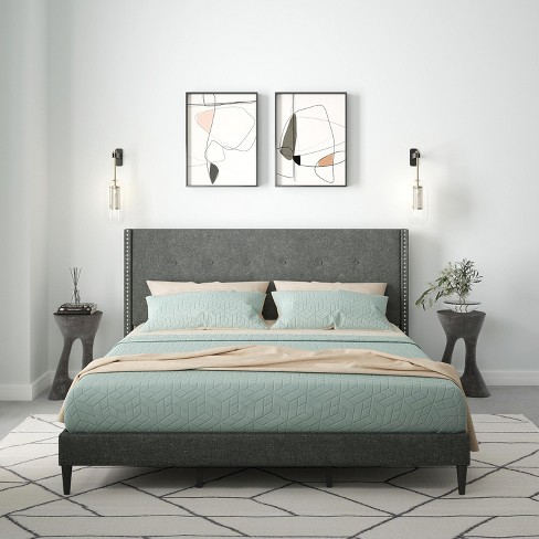 Glenwillow Home MCM Upholstered Platform Bed Frame, Nailhead-Trim Button Tufted MCM Wingback, Mattress Foundation, No Box Spring Needed, Easy Assembly - image 1 of 4