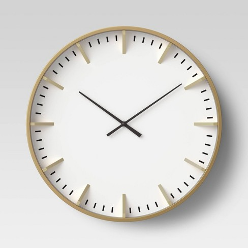 "Raised Marker 16"" Wall Clock White/Brass - Project 62™ - image 1 of 3"