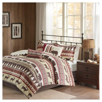 Red Great Falls Herringbone Comforter Set King 7pc