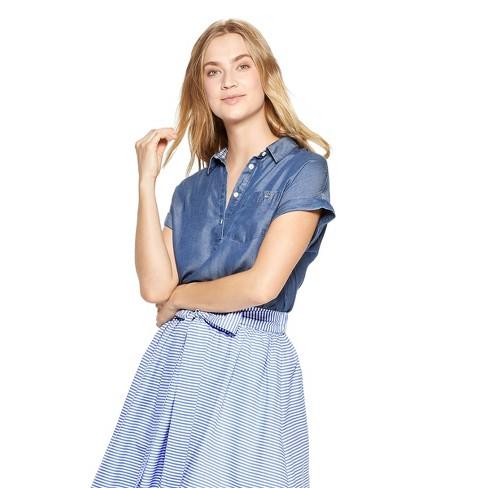 234ebc3b259 Women's Short Sleeve Chambray Popover Shirt - Blue - vineyard vines® for  Target