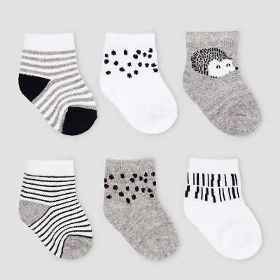 Baby 6pk Hedgehog Casual Socks - Cloud Island™ Black/White