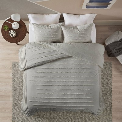 Full/Queen 3pc Cotton Chenille Comforter Set Gray