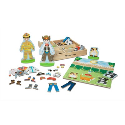 Melissa & Doug Occupations Magnetic Dress-Up Wooden Dolls Pretend Play Set (81pc)