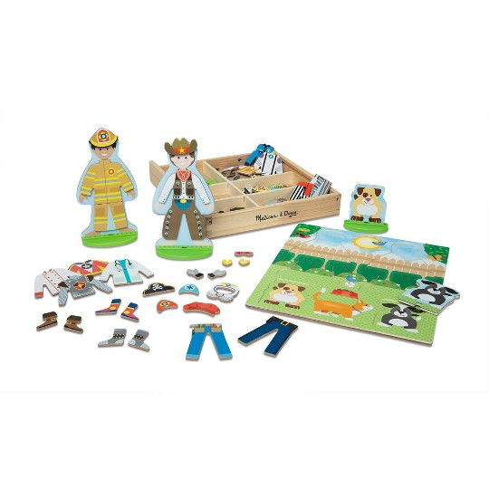 Buy Melissa Doug Occupations Magnetic Dress Up Wooden Dolls Pretend Play Set 81pc For Usd 16 99 Toys R Us