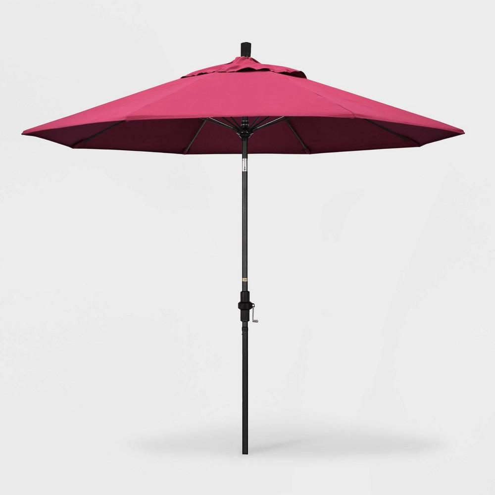 Image of 9' Sun Master Patio Umbrella Collar Tilt Crank Lift - Sunbrella Hot Pink - California Umbrella