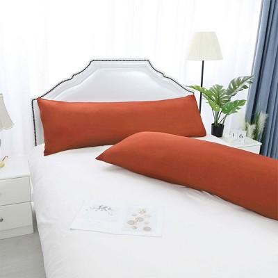 2 Pcs Body 1800 Series Soft Brushed Microfiber Pillow Cover Orange Red - PiccoCasa