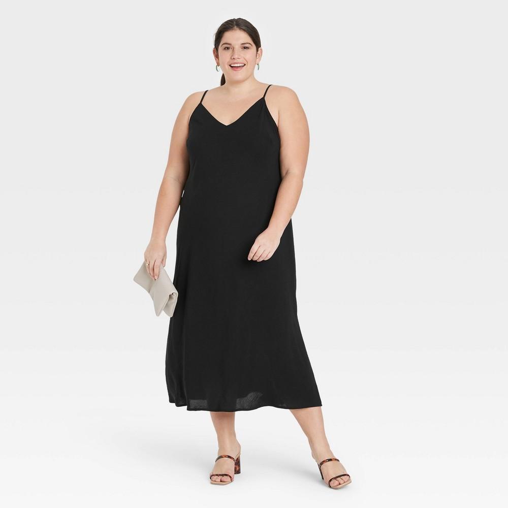Women 39 S Plus Size Slip Dress A New Day 8482 Black 3x