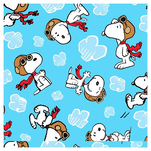 "Peanuts Flying Ace Clouds, Light Blue, Fleece, 59/60"" Width, Fabric by the Yard - image 1 of 1"