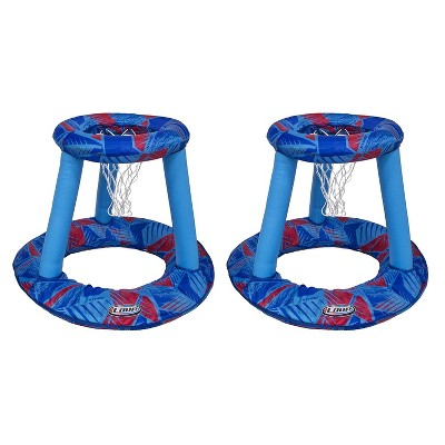 SwimWays Coop Inflatable Floating Water Pool Basketball Hoop Game w/ Spring Loaded, Storage Bag, and Basketball Included, Blue (2 Pack)